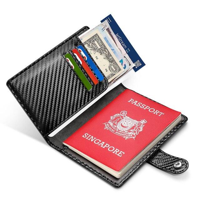 Carteira masculina com sistema rfid, carteira masculina feita em couro com tecnologia rfid, com compartimento para passaporte e cartão de visita