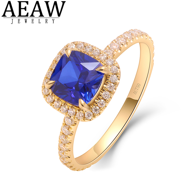 2.0carat Cushion Cut Lab Sapphire Enaggament Wedding Ring Set with Miossanite Diamond Fine Ring for Lady Real 14k Yellow Gold