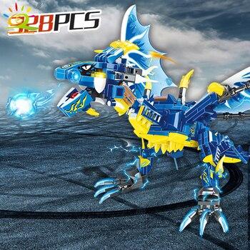 "Конструктор HUIQIBAO ""Синий дракон"", 328 шт. 6"
