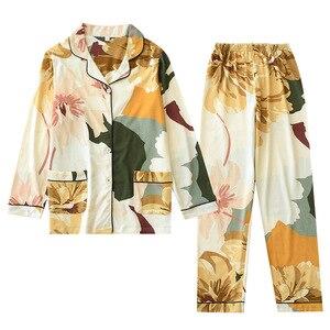 Image 3 - אביב חדש נשים 100% כותנה פיג מה עלה דקל הדפסת תורו למטה צווארון ארוך שרוול מכנסיים 2 חליפת חתיכה בגדי בית