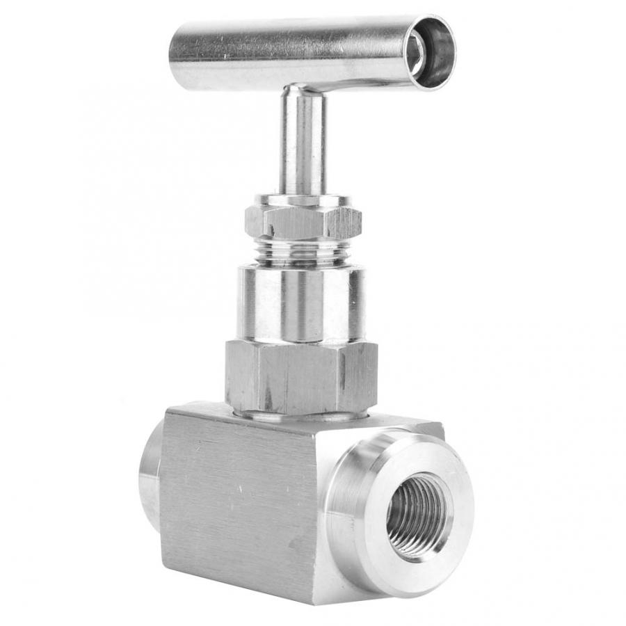 Needle Valve Stainless Steel BSPP Female Thread Straight Needle Valve for Water Gas Oil Transmission 3//8