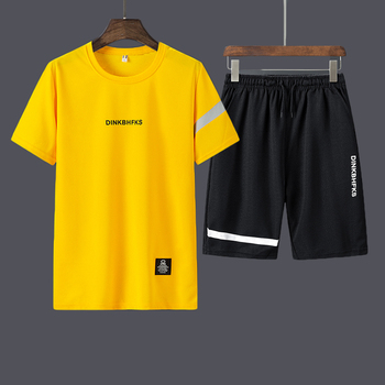 Casual Male Tracksuit Clothing Summer Men Set Fitness Suit Sporting Suits Short Sleeve T Shirt Shorts Quick Drying 2 Piece Set