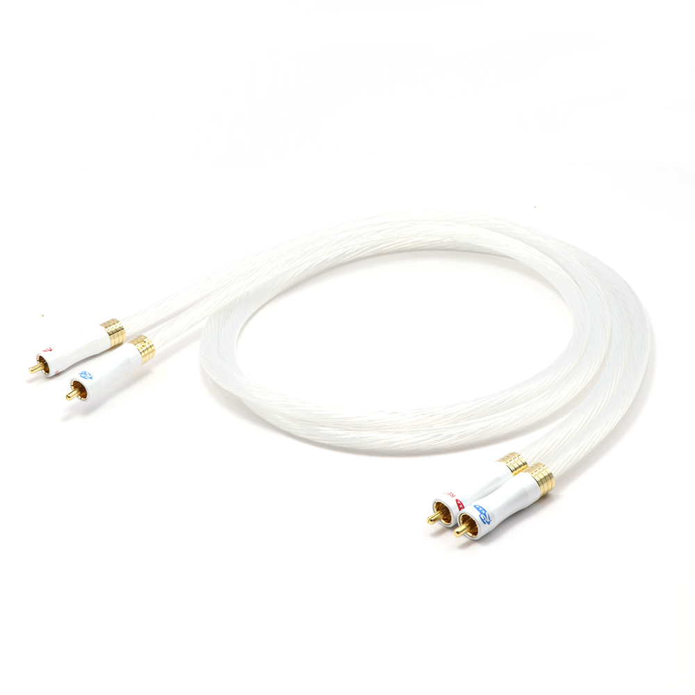 Pair X402 5N OCC Silver Plated RCA TO RCA Interconnect Audio Cable With Gold Plated RCA Plug