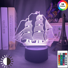 Acrylic 3d Illusion Led Night Light Lamp Sailing Ship Colorful Home Decor Lights Usb Battery Powered Nightlight for Kids Bedroom