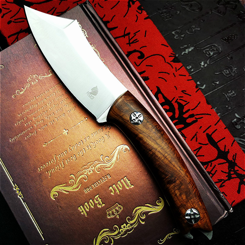 Tools : PEGASI  Huanghua pear wooden handle tactical straight knife slaughtering boning knife D2 steel integrated slicing chef s knife