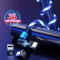 Вращающийся на 540 градусов светящийся светодиодный магнитный кабель Micro USB Тип C кабель Быстрая зарядка Магнитный зарядный кабель для iPhone 12 ...