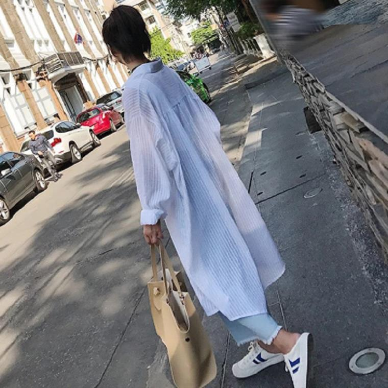 S Summer New Style Loose Cotton Linen Striped Shirt Women's Mid-length Coat Students Cardigan BF Coat Women's
