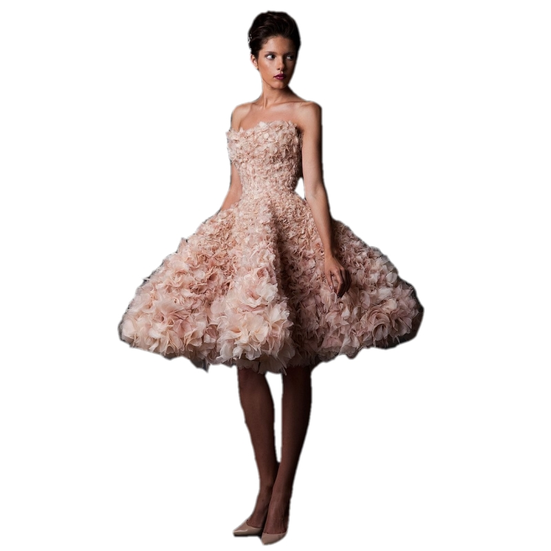 Short Luxury 2018 Strapless Ball Gown Flowers Sexy Short Vintage Bridal Gown Pink Robe De Mariage Mother Of The Bride Dresses