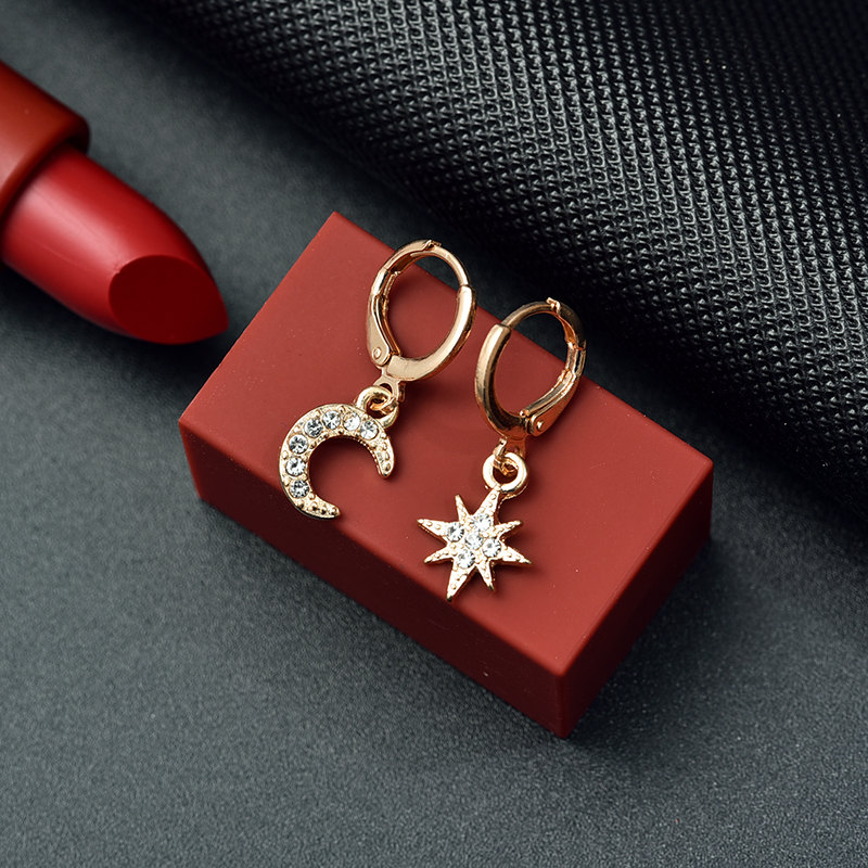 New Fashion Gold Star Moon Shape Earrings Simple Earring Weddings Jewelry Gift Crystal Round Geometric Earrings For Woman