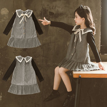 цена на Foreign Trade Korean-style S Thousands of Birds Dress Girls Western Style Princess Children Skirt Fashion-Style