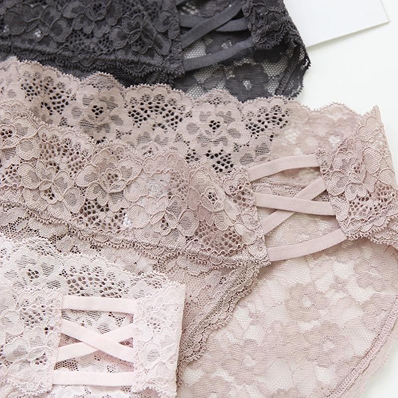 Roseheart Women Fashion Pink Black Cotton Lace Trim Bow Mid Waist Panties Sexy Underwear Lingerie Briefs 3 Piece 3 Color M L in women 39 s panties from Underwear amp Sleepwears