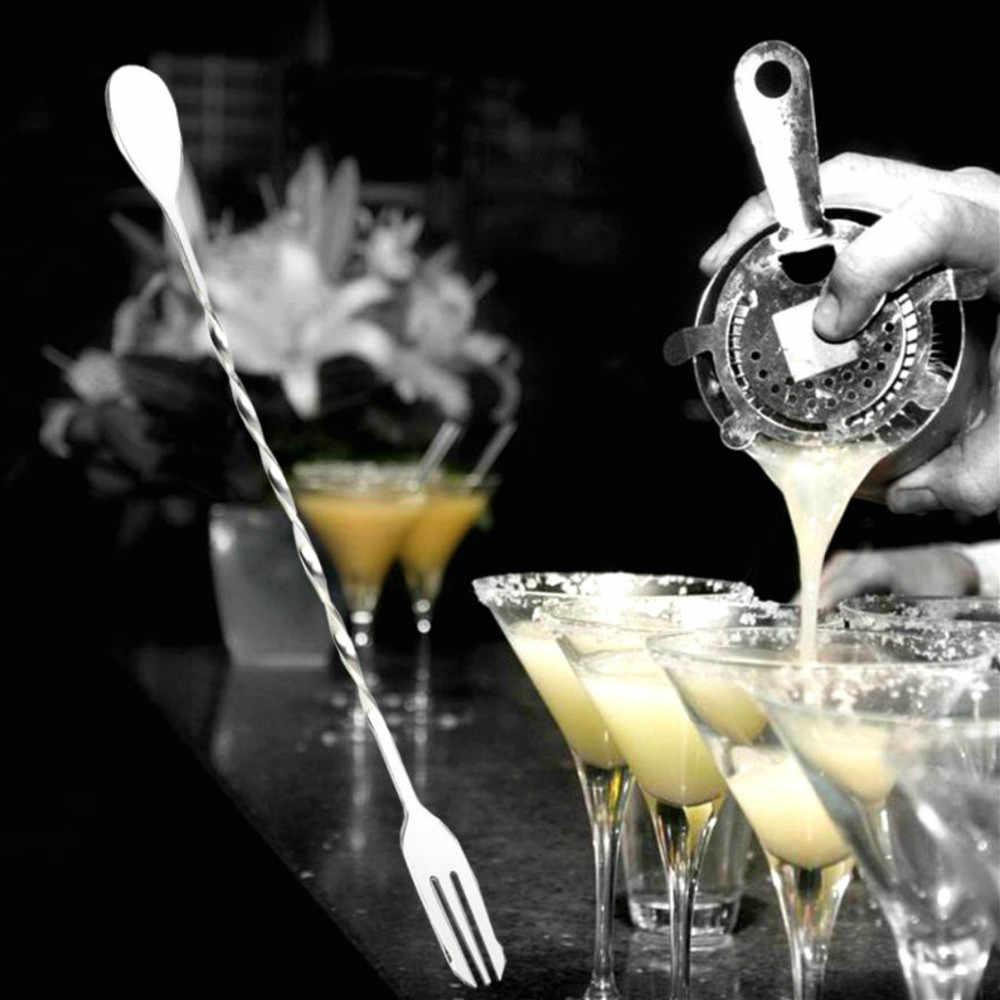 1PC Kreative Edelstahl Mischen Löffel Obst Gabel Spirale Muster Cocktail Bar Löffel Trinken Shaker Löffel Bartender Werkzeug