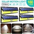4 шт. 180 светодиодный светильник на солнечной энергии для улицы, сада, двора, с датчиком движения, COB, 3 режима, водонепроницаемый энергосберег...