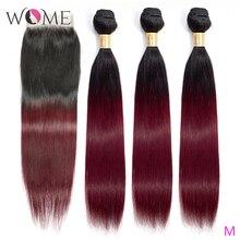 Wome Ombre שיער טבעי חבילות עם סגירת מראש בצבע 1b/99j ברזילאי ישר שיער חבילות עם סגירת שני טון ללא רמי