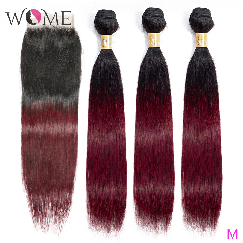 Wome Ombre Human Hair Bundles With Closure Pre-colored 1b/99j Brazilian Straight Hair Bundles With Closure Two Tone Non-remy