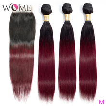 Wome Ombre Human Hair Bundles With Closure Pre colored 1b/99j Brazilian Straight Hair Bundles With Closure Two Tone Non remy