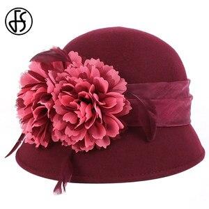 Image 4 - FS Wedding Hat For Women Elegant Pink Fedoras Flowers Wide Brim Wool Felt Vintage Ladies Cloche Hats Bowler Derby Hats