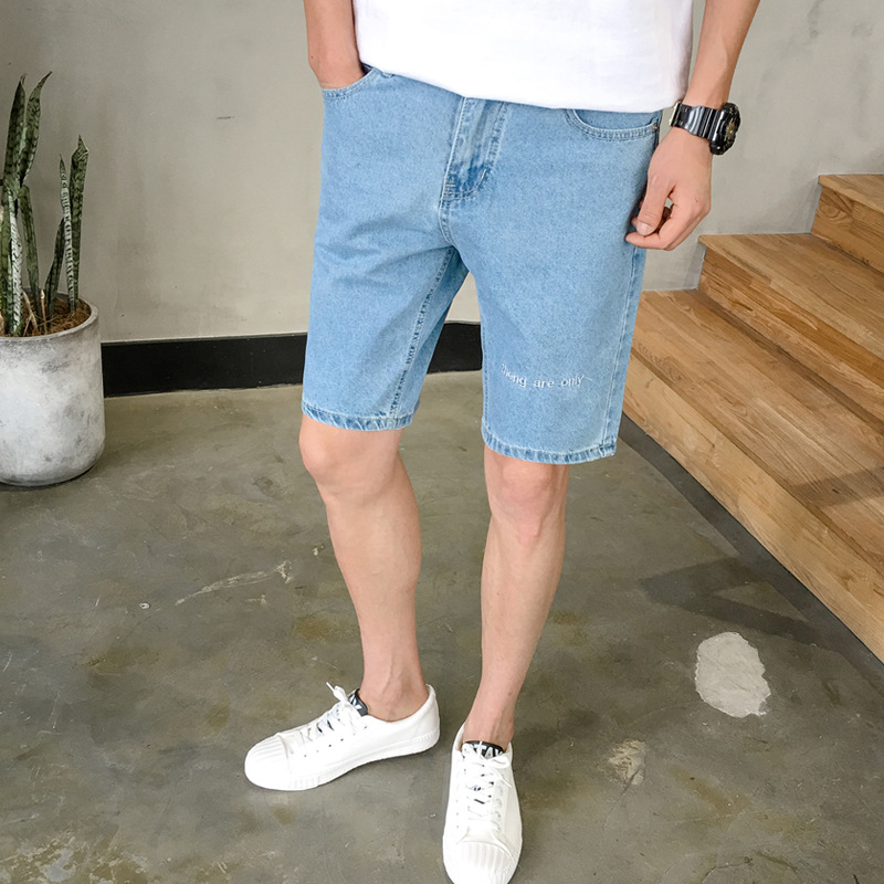 Summer New Style Jeans MEN'S Shorts Korean-style Youth Casual Slim Fit Fashion With Holes Printed Shorts Trend