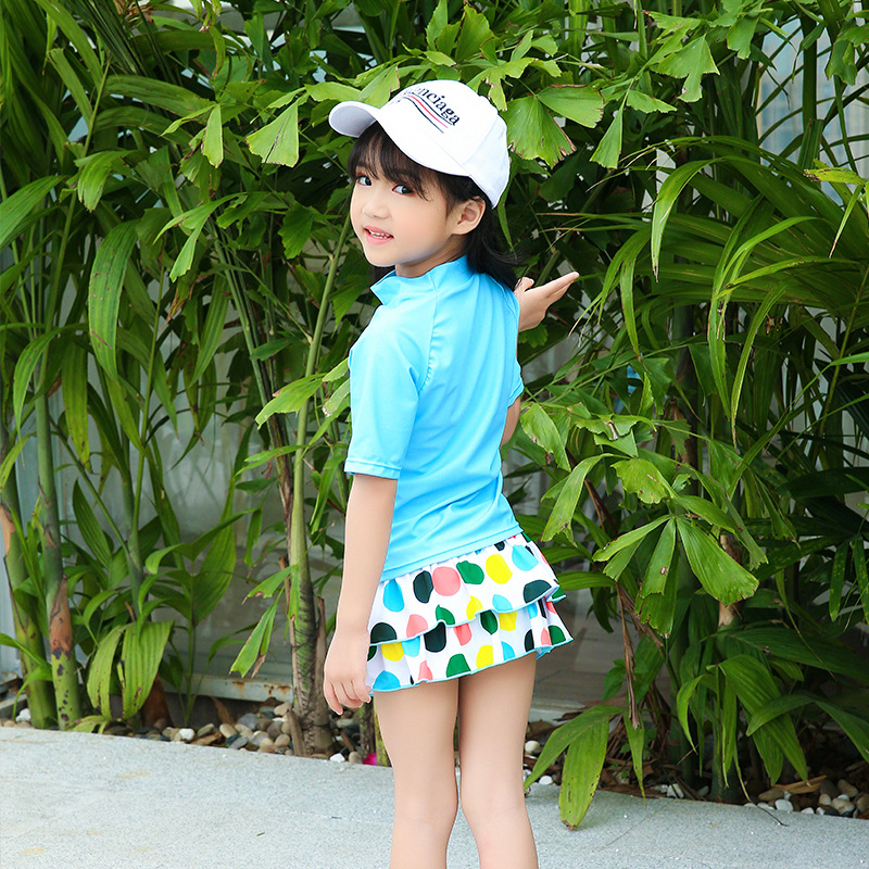 2018 New Style Hot Sales Split Type Two-Piece Bathing Suit Small Stand Collar Baby BOY'S Shorts GIRL'S Skirt Cartoon KID'S Swimw