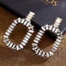 Exquisite kristall Tropfen Ohrring Mix Farbe Strass Mosaik Zink-legierung Pendientes Mujer Aliexpress Große Ohrringe Für Frauen Indien