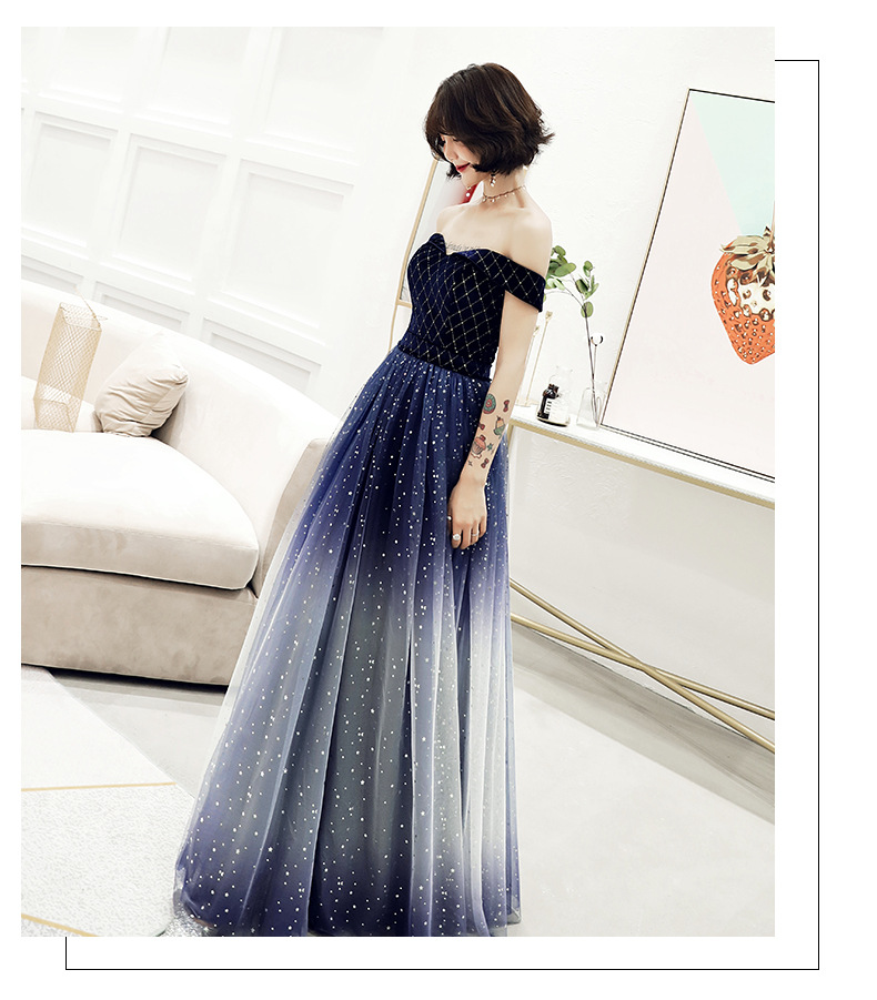 Sexy  Sequins Off Shoulder Dress  Elegant Gradient Evening Dresses Women Party Women Evening Dress Vestidos