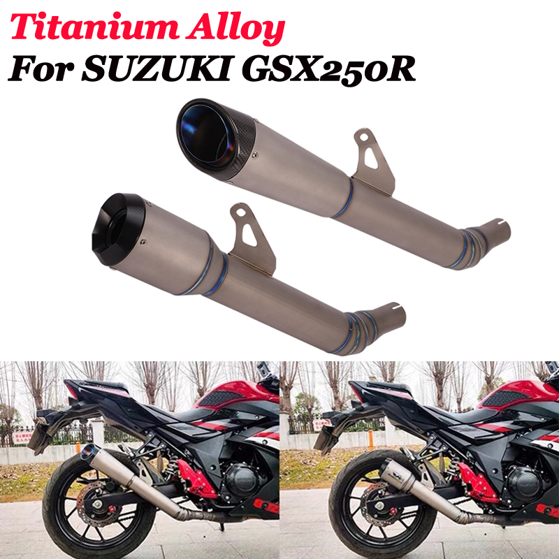 Slip On For <font><b>SUZUKI</b></font> <font><b>GSX250R</b></font> DL250 Motorcycle GP AR <font><b>Exhaust</b></font> Escape Moto Modiifed Titanium Alloy Middle Link Pipe Muffler Laser image