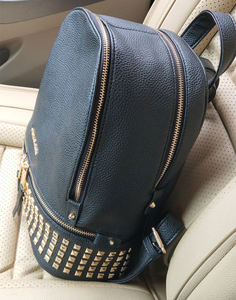 Luxury Leather Backpack Women Black Rivet Bag Brand Waterproof Back Pack Ladies Mini Travel Bag MultiFunction Small Bagpack