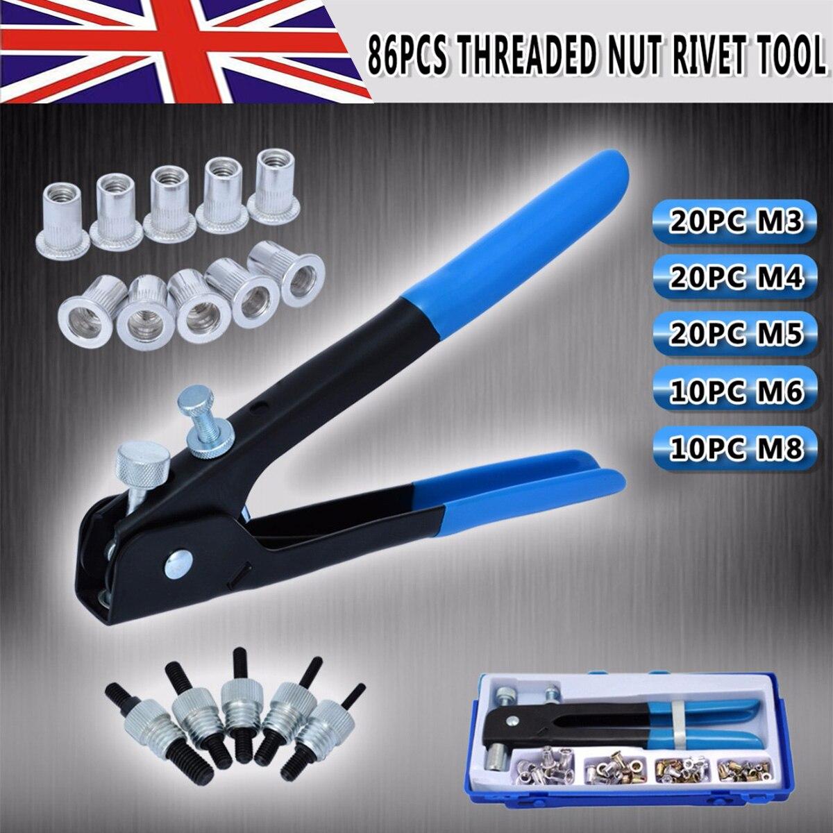 Brand New 86pcs Threaded Nut Blind Rivet Gun Large Nut Threaded Insert Manual Rivet M3-M8 Household Repair Tools