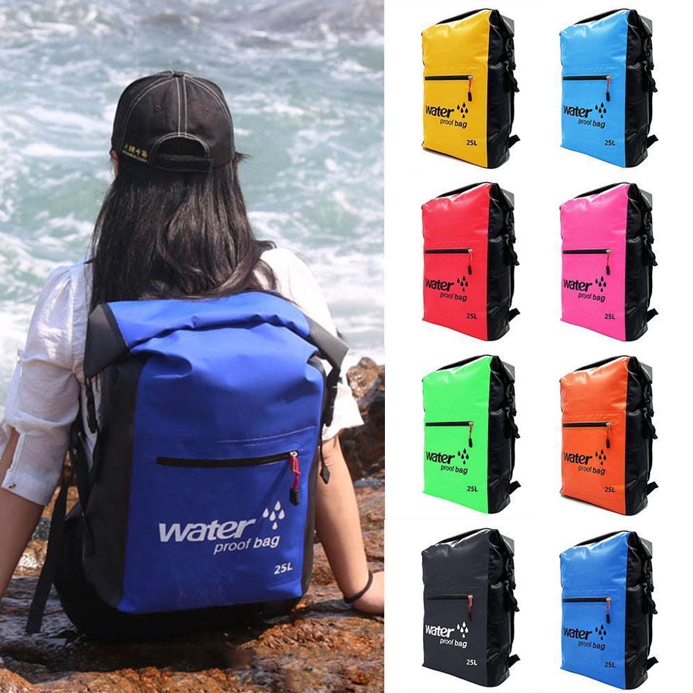 25L Outdoor Waterproof Swimming Bag Backpack Bucket Sports River Dry Bag Rafting Canoeing Kayaking 530g Sack Storage Y8F1