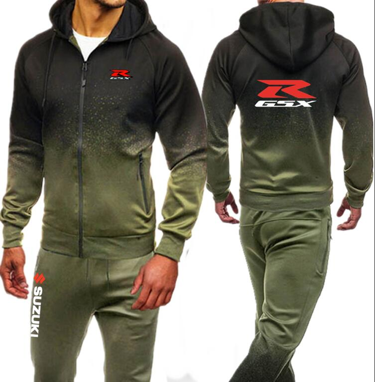 Suzuki Gsxr Gsx R Printed Men Set Causal Jacket Men Tracksuit Sportswear Hoodies Sweatshirt Pants Spring Jogger Suit Autumn