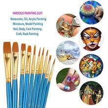 Face Body Paint Brushes Professional Painting Brush Set Plastic Handle Drawing Art Tools Kit