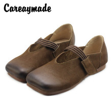 Careaymade-Womens Shoes of Retro Literature and Art Hand-polished Genuine Leather Shoes,Square Head Flat sole Single