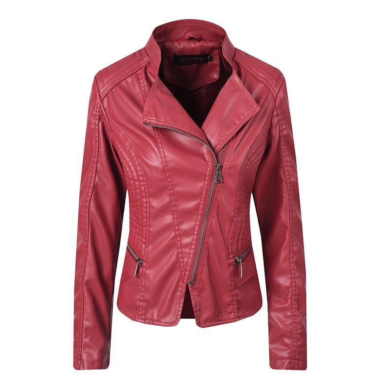 Faux   leather   coat women black red beige loose PU tops jacket autumn winter new long sleeve lapel fashion faux   leather   coat JD672