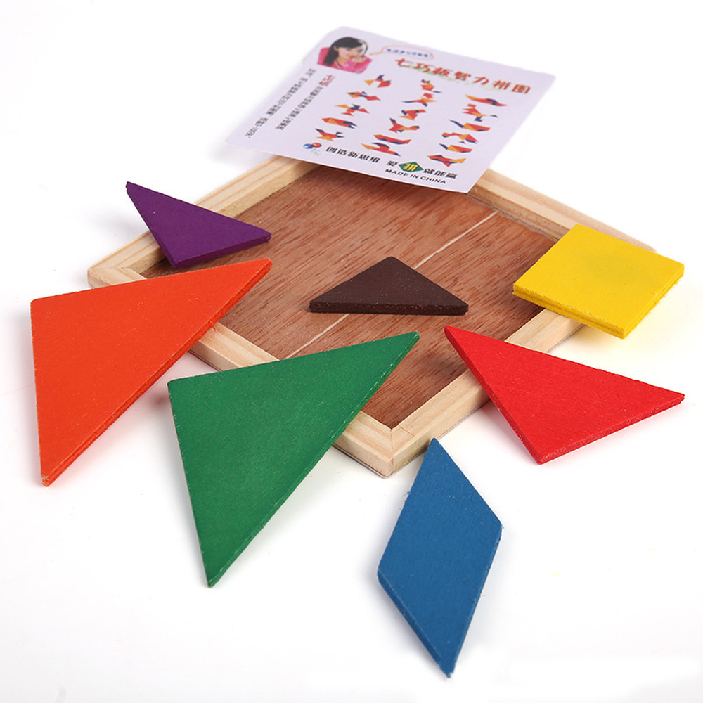 Funny Wooden Tangram Brain Teaser Wooden Tangram 7 Piece Jigsaw Funny Wooden Tangram Intelligent Education Toys Jigsaw Puzzle