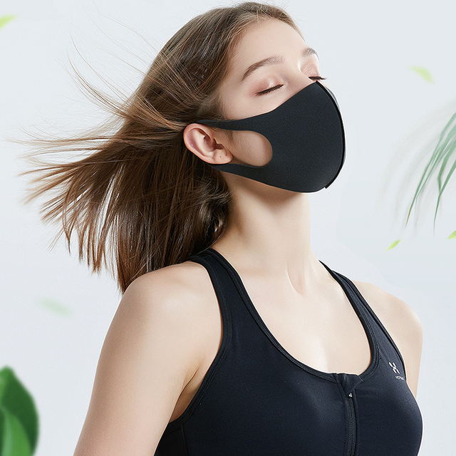 PM2.5 Anti Haze Anti-dust Anti-fog Black Mask Filter Respirator Mouth-muffle Bacteria Proof Flu Face Masks With Valve Reusable 1