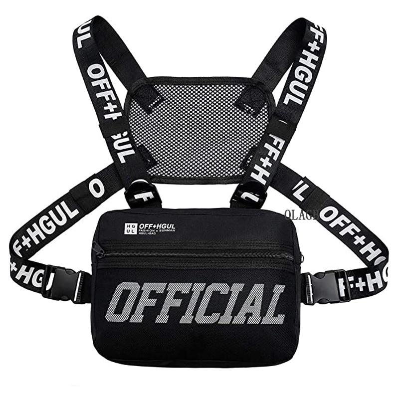 Нагрудная сумка G122 мужская с двумя ремнями, модная уличная тактическая сумочка в стиле хип-хоп, модный прямоугольной формы