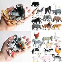 12 шт. имитация модели диких животных, мини-животное, Лев, тигр, курица, утка, корова, птица, дети, ПВХ фигурки, куклы, игрушки для детей