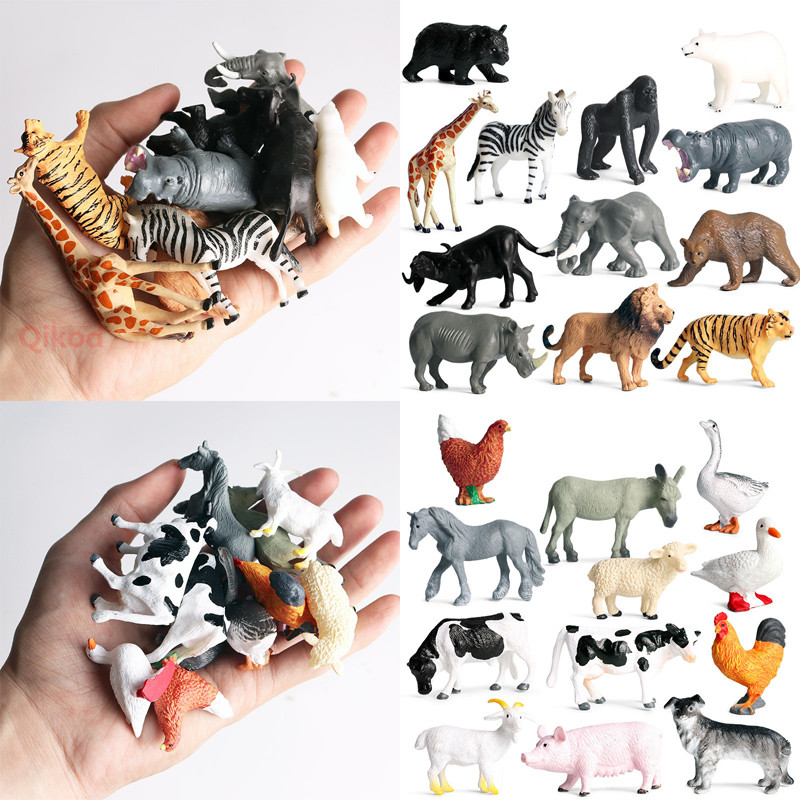 12pcs Simulation Wild Animal Model Toy Mini Animal Lion Tiger Chicken Duck Cow Poultry Child PVC Figures Dolls Toys For Children