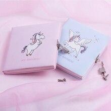 جميل الكرتون يونيكورن الفتيات دفتر مع قفل الحلو فتاة المنزل مقفلة مذكرات ل مذكرة اليومية الملونة الداخلية الصفحة