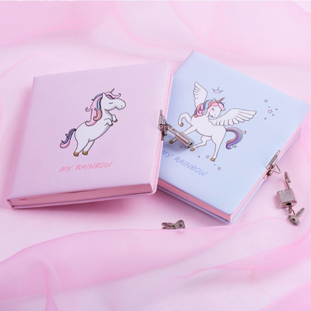 Lovely Cartoon Unicorn Girls Notebook with Lock Sweet Home Girl Locked Diary for Daily Memo Colorful Inner Page