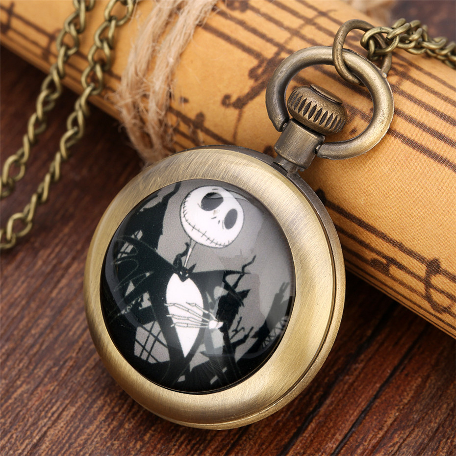 Vintage Bronze Kids Quartz Pocket Watch Open Face The Nightmare Before Christmas Design Back Cover Pendant Necklace Watch Gifts