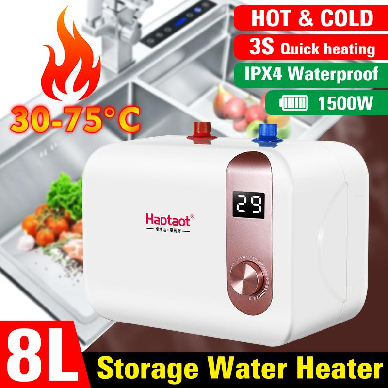 8L 1500W 220V Electric Water Heater LCD Display 3s Instant Heating Hot Water Heater Waterproof Fast Heating For Bathroom Kitchen