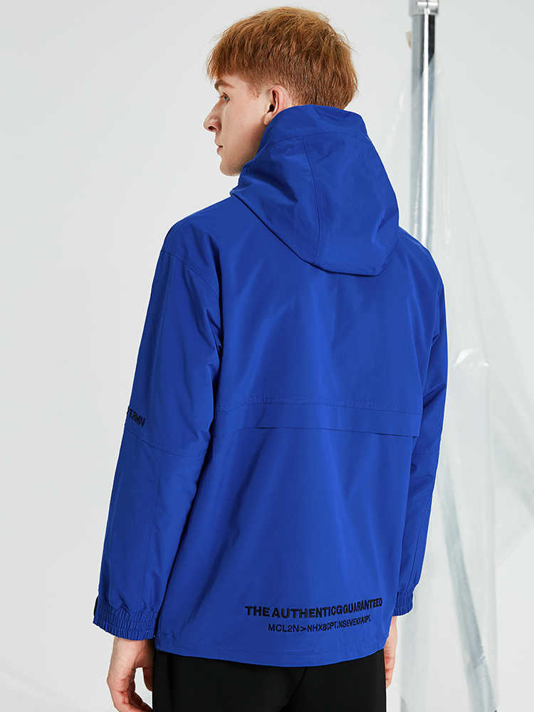 パイオニアキャンプファッション男性ウインドブレーカーフードパープルロイヤルブルーカジュアル Techwear 女性のボーイフレンドジャケット AJK908158T