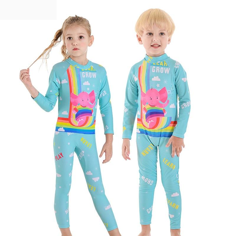 2019 New Style Hot Sales KID'S Swimwear One-piece Sun-resistant Send Swimming Cap Long Sleeve Trousers Cartoon Baby Elephant Men