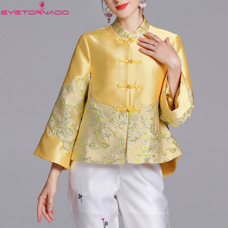Style chinois tang costume femmes printemps automne floral broderie dobby court décontracté travail col montant cheongsam costume hauts rose