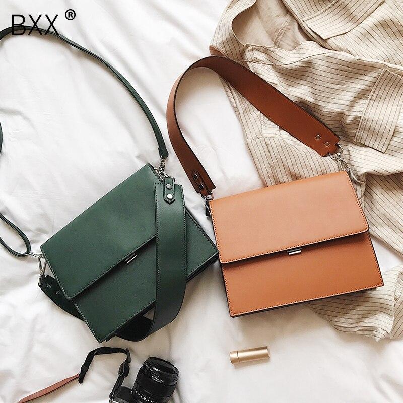 [BXX] 2020 Women Fashion Simple Autumn PU Leather Bag Brand Designer Wide Strap Shoulder Messenger Bag Large Capacity Bags HI702