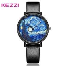 KEZZI Men Quartz Leather Watch Starry Night Watch Student Waterproof Watches Men Wristwatch Clock Gift Reloj Hombre