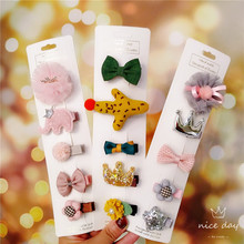 5pcs Children Girl Hair Accessoires Kids Bunny Crown Barrettes Bow Flower Clips For Girls Baby Infants Headdress