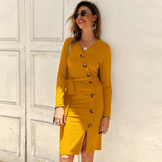 Sexy V Neck Autumn Long Sleeve Women Knitted Sweater Dress 2019 Solid Leisure Sashes Bodycon Button Midi Party Dress Robe Femme 3