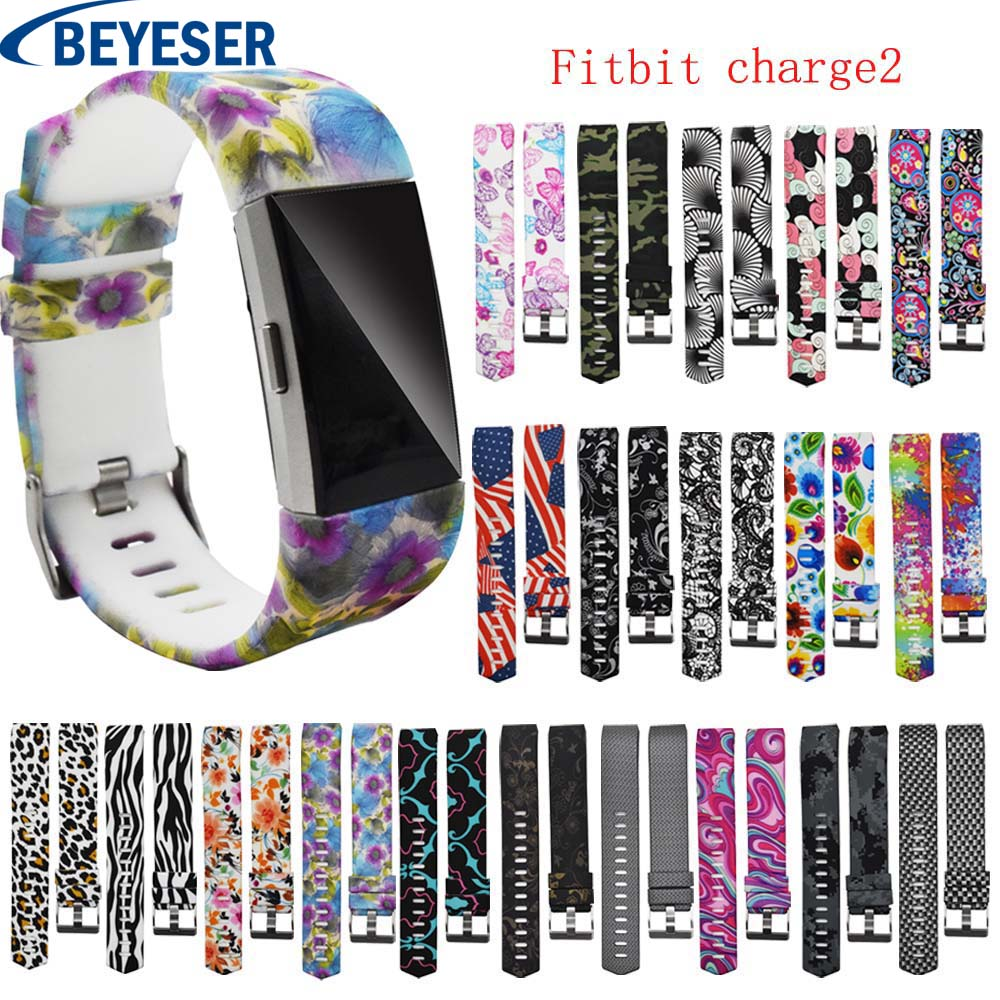 Fashion Sport Printed Silicone Metal Buckle Band Watchband Replacement For Fitbit Charge 2 New Smart Wrist Bracelet Accessories